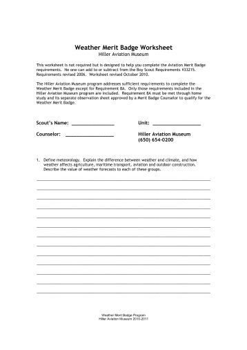Weather Merit Badge Worksheet - Secretlinkbuilding