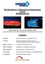 Mit dem Bayern 1 Radioclub zur Allianz-Arena und zur Abendschau ...