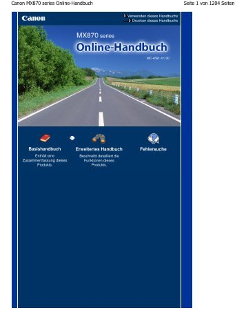 Canon MX870 series Online-Handbuch - Canon Europe