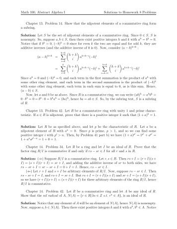 Math 330, Abstract Algebra I Solutions to Homework 8 Problems ...