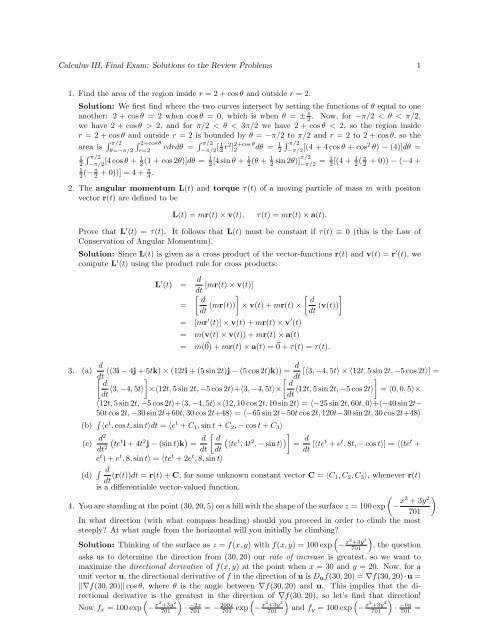 Calculus III, Final Exam: Solutions to the Review Problems 1