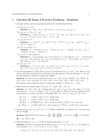 1 Calculus III Exam 2 Practice Problems - Solutions