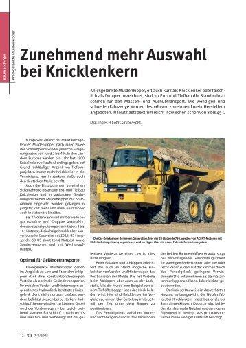 Zunehmend mehr Auswahl bei Knicklenkern - Bauverlag