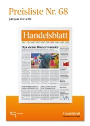 Handelsblatt Preisliste Nr. 68, gültig ab 1.1.2013 - IQ media marketing