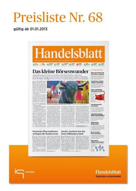 Handelsblatt Preisliste Nr. 68, gültig ab 1.1.2013 - IQ media marketing