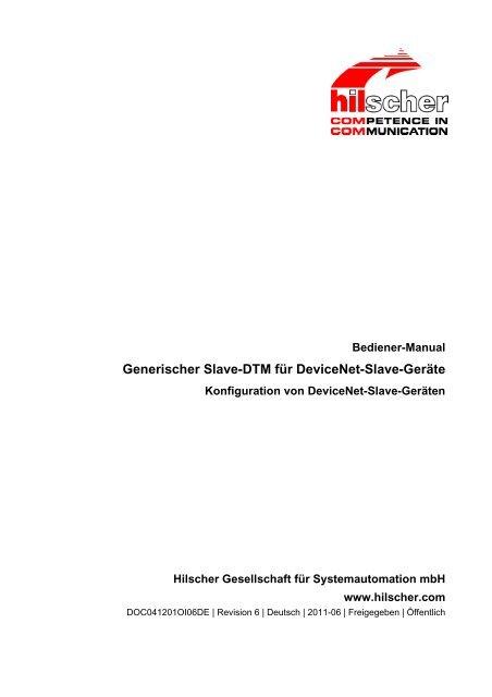 Generischer Slave-DTM für DeviceNet-Slave-Geräte - Hilscher.fr