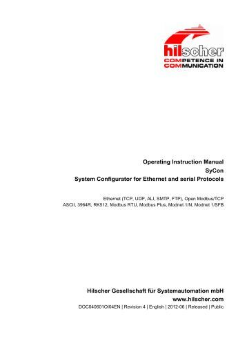Operating Instruction Manual SyCon System Configurator for ...
