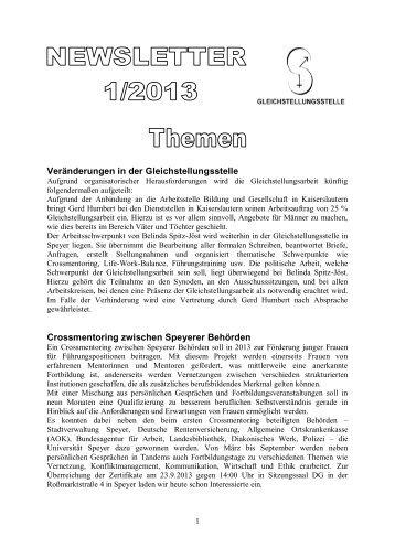 Newsletter 1/2013 der Gleichstellungsstelle (PDF, 280 KB)