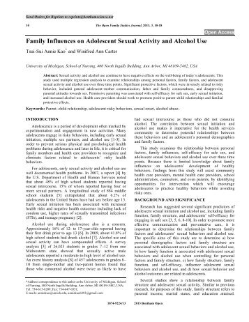Family Influences on Adolescent Sexual Activity ... - Bentham Science