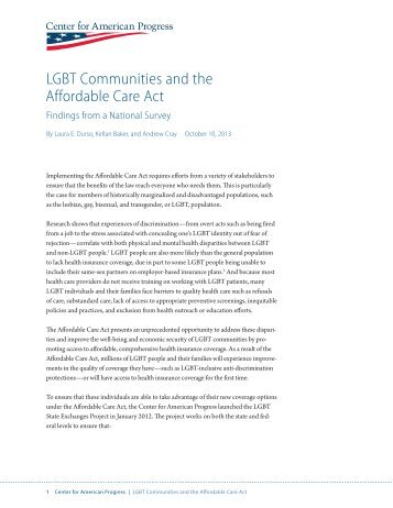 LGBT Communities and the Affordable Care Act - Center for ...