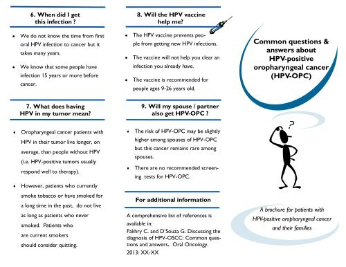 hpv and oropharyngeal cancer fact sheet