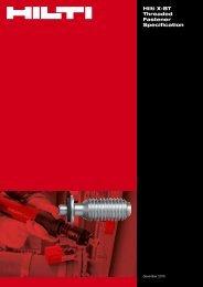 Hilti X-BT Threaded Fastener Specification