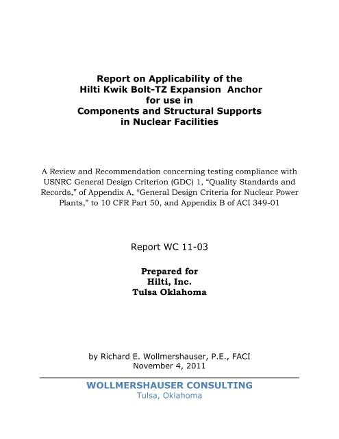KB-TZ Nuclear Report on Testing and Evaluation - Hilti Egypt