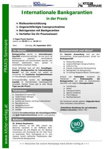 Internationale Bankgarantien in der Praxis - Kitzler Verlag