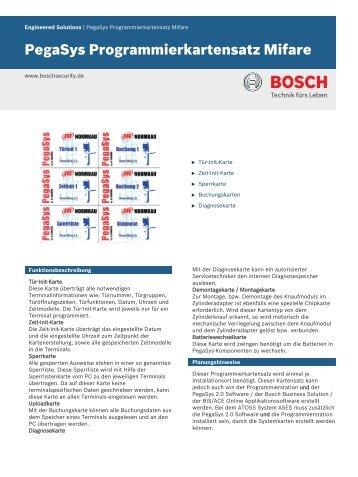 PegaSys Programmierkartensatz Mifare - Bosch Security Systems