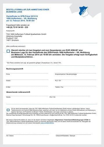 Tages-Loge DFB-Pokal Viertelfinale - TSG 1899 Hoffenheim