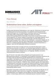 Straßenbahnen lernen sehen, denken und reagieren - AIT Austrian ...