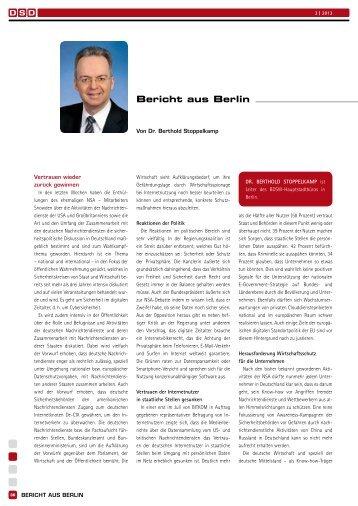 Dr. Berthold Stoppelkamp: Bericht aus Berlin - BDSW