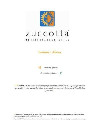 Zuccotta Summer Menu - Hilton