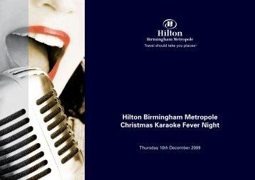 Hilton Birmingham Metropole Christmas Karaoke Fever Night