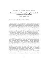 Representation Theory, Complex Analysis and Integral ... - HIM