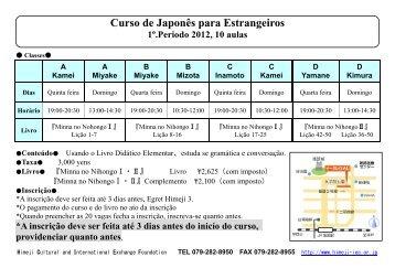 Curso de Japonês para Estrangeiros 1º.Periodo 2012, 10 aulas
