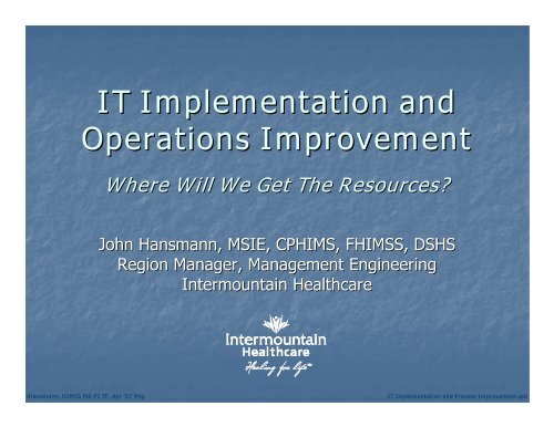 IT Implementation and Operations Improvement - himss