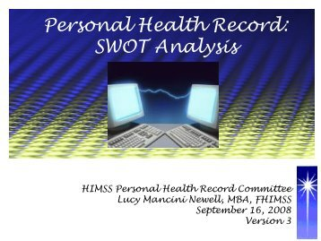 Personal Health Record: SWOT Analysis - himss