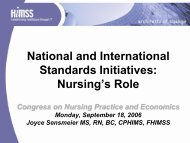 National and International Standards Initiatives: Nursing's Role - himss