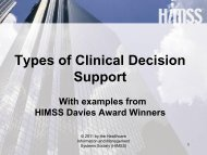 Types of Clinical Decision Support With examples from HIMSS ...
