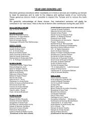 YEAR 2005 DONORS LIST - Hindu Temple of Oklahoma