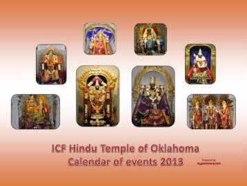 2013 Calendar - Hindu Temple of Oklahoma City