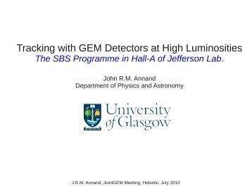 Tracking with GEM Detectors at High Luminosities - Helsinki Institute ...