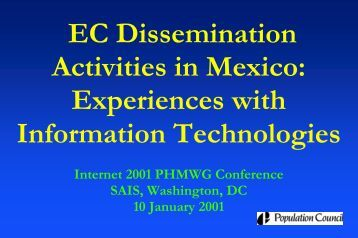 EC Dissemination Activities in Mexico: Experiences with ... - HIPNet