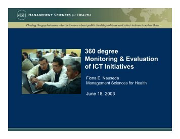360-degree Monitoring of an ITC Training Initiative on the ... - HIPNet
