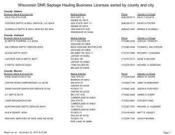 Wisconsin DNR Septage Hauling Business Licenses sorted by ...
