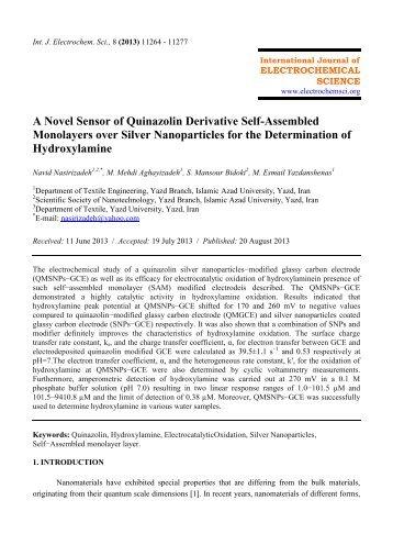 A Novel Sensor of Quinazolin Derivative Self-Assembled ...