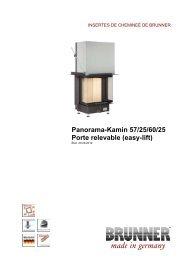 Panorama-Kamin 57/25/60/25 Porte relevable (easy-lift) - Brunner
