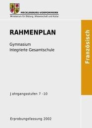 Rahmenplan Französisch - Bildungsserver Mecklenburg-Vorpommern