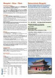 Mongolei - China - Tibet: Naturerlebnis Mongolei - networx.at