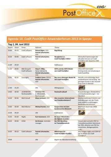 Agenda 10. CodX PostOffice-Anwenderforum 2013 in Speyer - CodX ...