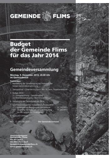 Budget der Gemeinde Flims für das Jahr 2014