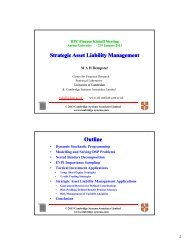 Strategic Asset Liability Management g y g g y g Outline
