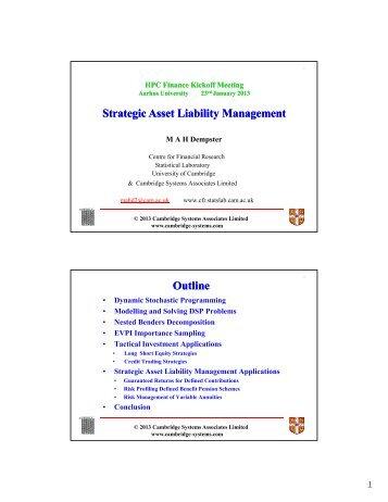 Strategic Asset Liability Management g y g g y g Outline