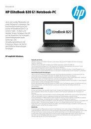 Datenblatt HP EliteBook 820 G1 Notebook de deutsch - ARP