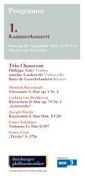 1. Kammerkonzert - Die Duisburger Philharmoniker