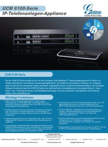 UCM 6100-Serie IP-Telefonanlagen-Appliance - Grandstream ...