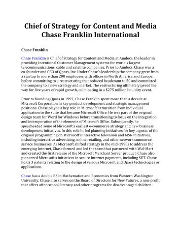 Chief of Strategy for Content and Media Chase Franklin International