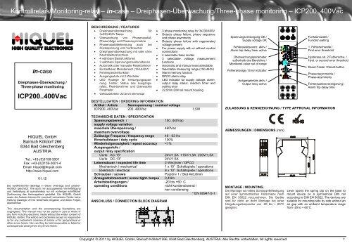Kontrollrelais/Monitoring-relay – in-case – Dreiphasen ... - Hiquel