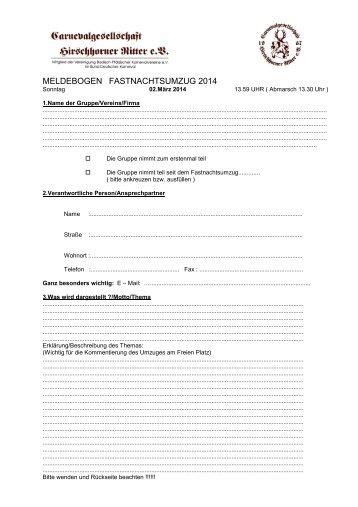 MELDEBOGEN FASTNACHTSUMZUG 2013 - Hirschhorner Ritter